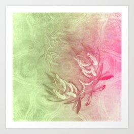 Pink and green wattle and kaleidoscope Art Print
