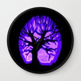 Happy HaLLoWeen. Brain Tree : Purple Wall Clock