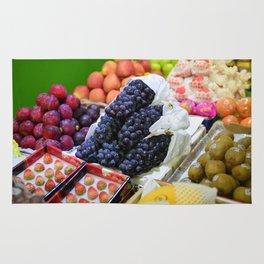 Market Display of Fruit - Kitchen or Cafe Decor Rug