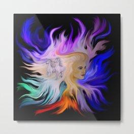 Woman and Horse - Fantasy Rainbow Art Metal Print