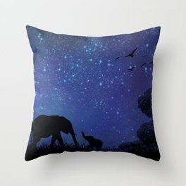 Elephants at Play (Blue) Throw Pillow