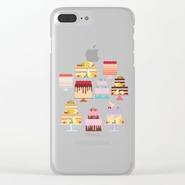 Birthday, valentine's day, wedding, engagement. Set sweet cake, fruits, berries Clear iPhone Case