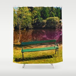 Bench at the pond Shower Curtain