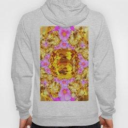 November Amber Color Citrine Gems & Pink Roses Hoody