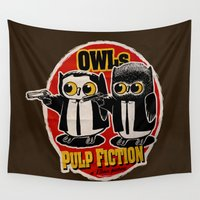 pulp Wall Tapestries featuring Owls Pulp Fiction by Lime
