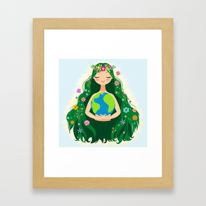 Beautiful Flowing Flower Earth Mother Figure Framed Art Print