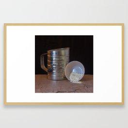 Sifter and spilled Bowl of Flour on Gray Slate Framed Art Print