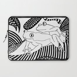 Black and white frogs outline drawing Laptop Sleeve