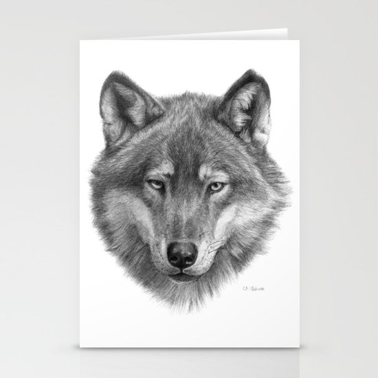 Wolf face G084 Stationery Cards