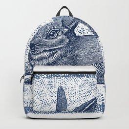 Rabbit print, Vintage Rabbit, Animal Wall Art Backpack