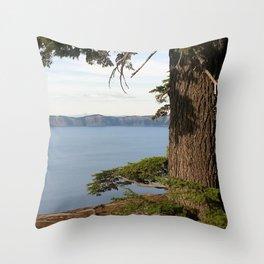 Peeking at Crater Lake Throw Pillow
