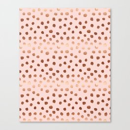 Rose Gold pastel pink polka dot painted metallic pattern basic minimal pattern print Canvas Print