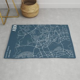 Kiev Blueprint Street Map, Kiev Colour Map Prints Rug