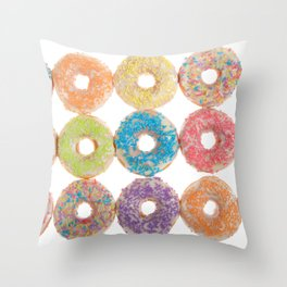 Bright colorful candy coated donuts Throw Pillow