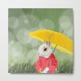 It's raining, little bunny! Metal Print