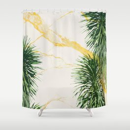 Gold marble texture with palm tree 1 Shower Curtain