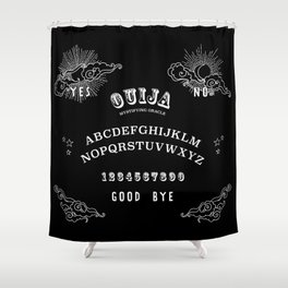 Ouija Board White on Black Shower Curtain