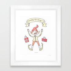 Holiday Card - Ecstatic Elf Framed Art Print