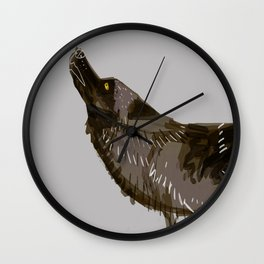 Totem Yukon Black Wolf Wall Clock