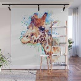 Giraffe Watercolor Portrait Wall Mural