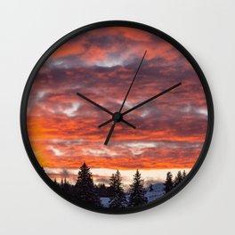 Lamar Valley Sunset - Yellowstone National Park Wall Clock