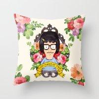 tina Throw Pillows featuring Tina - Everything's ok face  by Sara Eshak