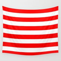stripes Wall Tapestries featuring Horizontal Stripes (Red/White) by 10813 Apparel