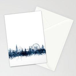 London City Skyline Blue Watercolor by zouzounioart Stationery Cards