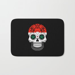 Sugar Skull with Roses and Flag of Syria Bath Mat