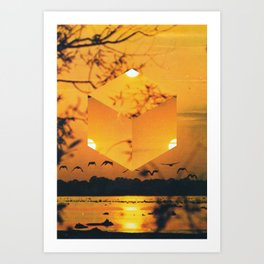 Hexagon Sunset Art Print