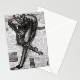 Knowledge Applied - Charcoal on Newspaper Stationery Cards