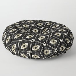 Esoteric eyes and moons geometric on black Floor Pillow