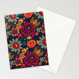 Bright Playful Flowers with Dark background Stationery Cards
