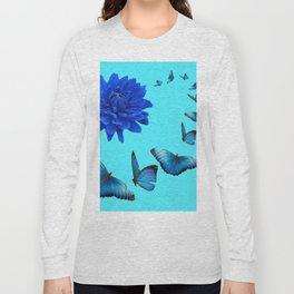 BLUE DAHLIA FLOWER & BLUE BUTTERFLIES ALLURE Long Sleeve T-shirt