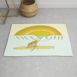 daydreams paddle out surf rainbows // retro surf art by surfy birdy Rug