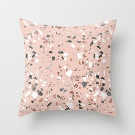 Pink Quartz and Marble Terrazzo Throw Pillow