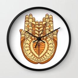 Orange indie hands illustration Wall Clock