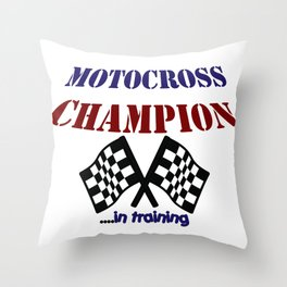 Motocross Champ in Training Throw Pillow