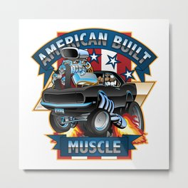 American Built Muscle - Classic Muscle Car Cartoon Illustration Metal Print
