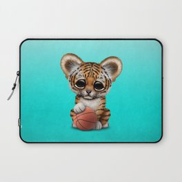 Tiger Cub Playing With Basketball Laptop Sleeve