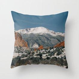 Snowy Mountain Tops Throw Pillow