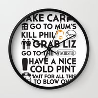 shaun of the dead Wall Clocks featuring SHAUN OF THE DEAD THE PLAN by thischarmingfan