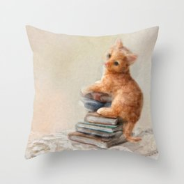 Cute cat standing on stack of books. Oil painting. Throw Pillow