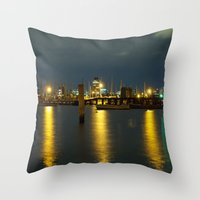 melbourne Throw Pillows featuring Melbourne by popbones