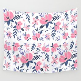 Pink Flowers Pattern 2 Wall Tapestry