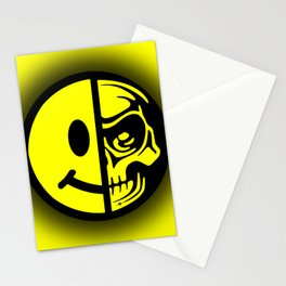 Smiley Face Skull Yellow Shadow Stationery Cards