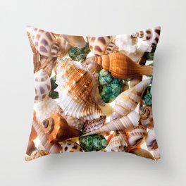 Seashells background Throw Pillow