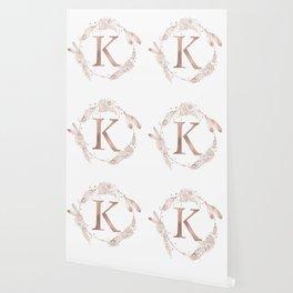 Letter K Rose Gold Pink Initial Monogram Wallpaper