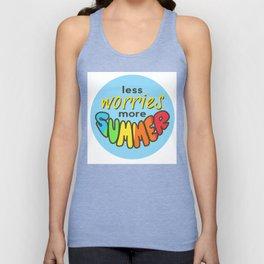 Less Worries, More Summer, Summer sticker, Summer t shirt, blue version Unisex Tank Top