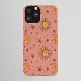 Folk Moon and Star Print iPhone Case